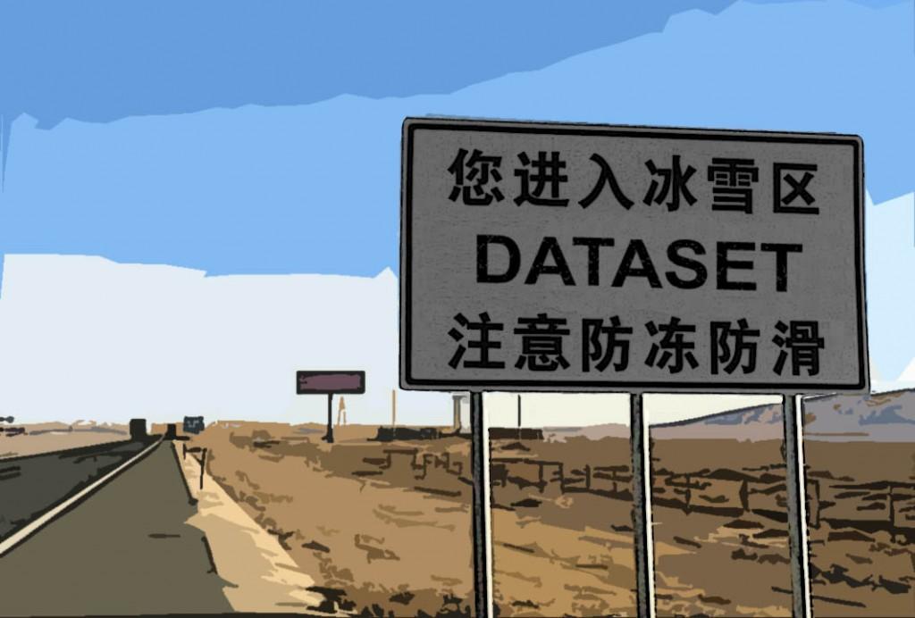 """Portada de mi ponencia """"el camino hacia el dataset"""""""