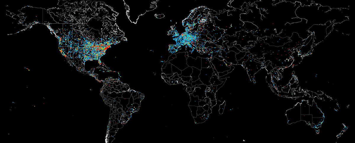 Mapa de Sistemas de Control Industrial accesibles desde Internet