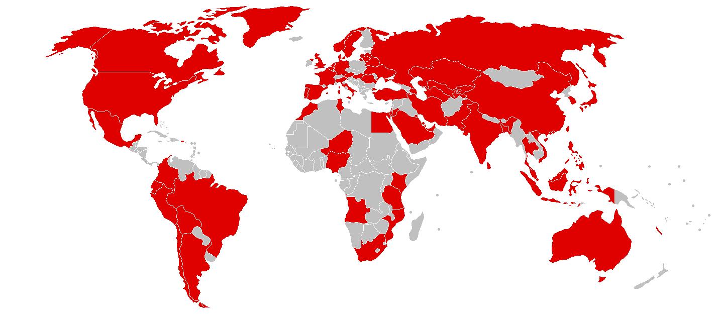 Países afectados. Fuente: Wikipedia